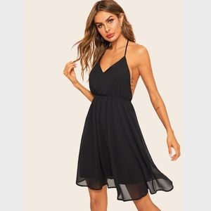 Backless Fit and Flared Black Cocktail Dress
